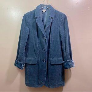 J.Jill Oxford Blue Corduroy Oversized Long Blazer